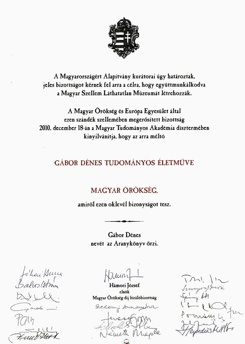 Magyar Örökség Díj Gábor Dénesnek