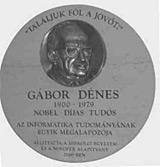 Gábor Dénes emléktábla